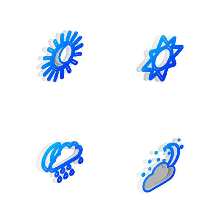 Set Isometric line Sun, Eclipse of the sun, Cloud with rain and moon and stars icon. Vector Illustration