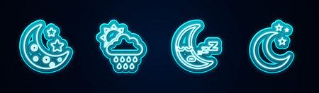 Set line Moon and stars, Cloud with rain sun. Glowing neon icon. Vector Illustration