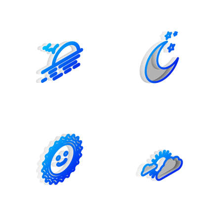 Set Isometric line Moon and stars, Sunset, and cloud weather icon. Vector