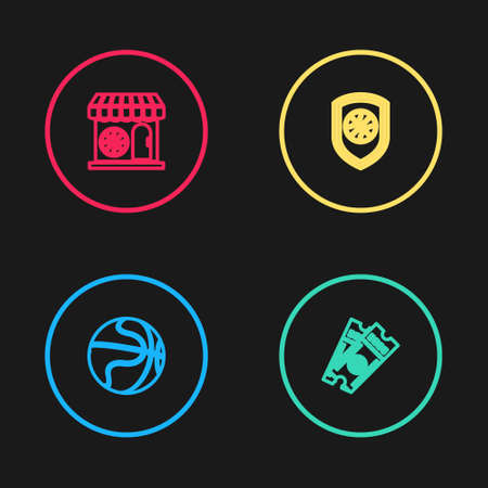 Set line Basketball ball, game ticket, Shield in the basketball and Sports shop and icon. Vector Illustration
