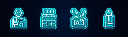Set line Man in the sauna, Hot stones, Bar of soap and Essential oil bottle. Glowing neon icon. Vector