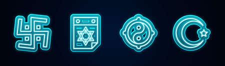 Set line Hindu swastika, Jewish calendar, Yin Yang and Star and crescent. Glowing neon icon. Vector Illustration