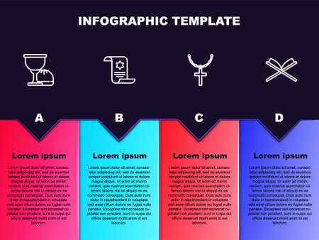 Set line Holy grail or chalice, Torah scroll, Christian cross on chain and book of Koran. Business infographic template. Vector Illustration