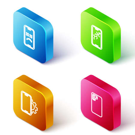 Set Isometric line Dead mobile, Mobile with broken screen, Phone repair service and Smartphone icon. Vector