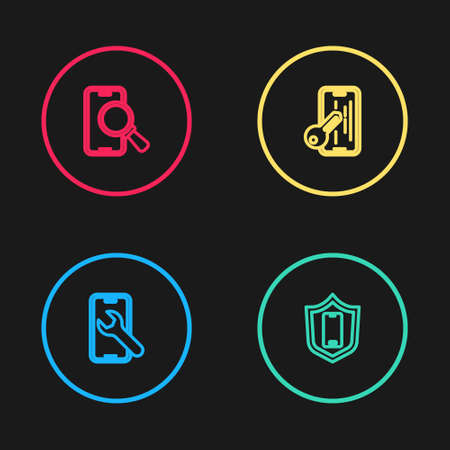 Set line Mobile service, with shield, Glass screen protector and Phone repair icon. Vector