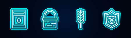 Set line Pack full of seeds of plant, Basket, Wheat and Shield with pig. Glowing neon icon. Vector Illustration
