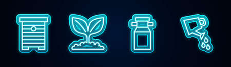 Set line Hive for bees, Plant, Can container milk and Watering can. Glowing neon icon. Vector
