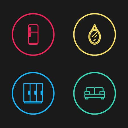 Set line Wardrobe, Sofa, Mirror and Refrigerator icon. Vector