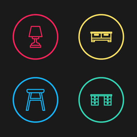 Set line Chair, Office desk, Chest of drawers and Table lamp icon. Vector