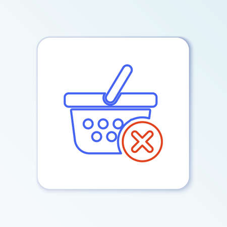 Line Remove shopping basket icon isolated on white background. Online buying concept. Delivery service sign. Supermarket basket and X mark. Colorful outline concept. Vector