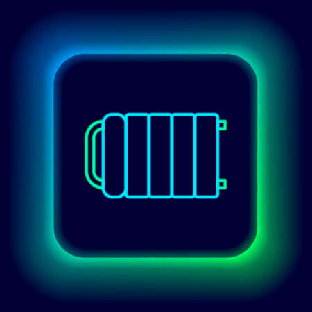 Glowing neon line Heating radiator icon isolated on black background. Colorful outline concept. Vector