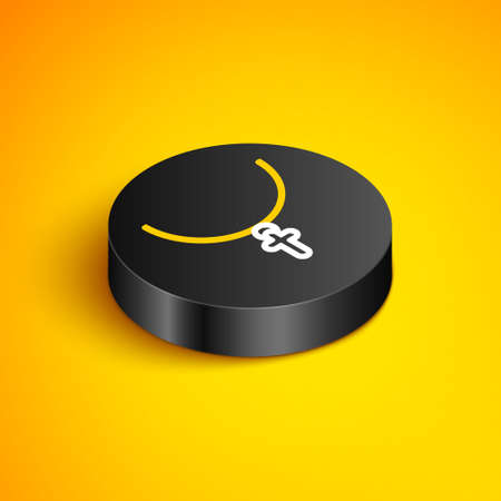 Isometric line Christian cross on chain icon isolated on yellow background. Church cross. Black circle button. Vector
