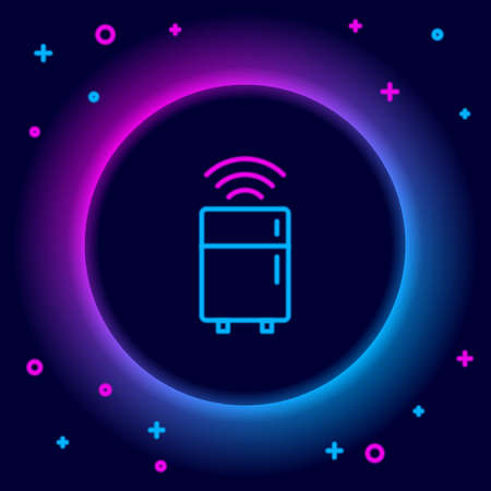 Glowing neon line Smart refrigerator icon isolated on black background. Fridge freezer refrigerator. Internet of things concept with wireless connection. Colorful outline concept. Vector