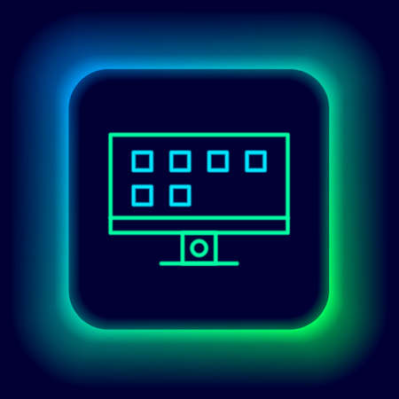 Glowing neon line Smart Tv icon isolated on black background. Television sign. Colorful outline concept. Vector Vektoros illusztráció