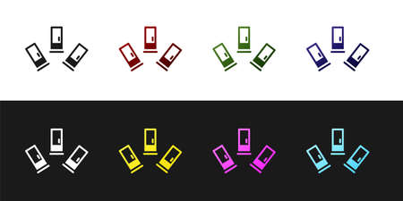 Set Cartridges icon isolated on black and white background. Shotgun hunting firearms cartridge. Hunt rifle bullet icon. Vector Векторная Иллюстрация