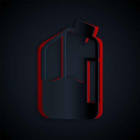 Paper cut Printer ink bottle icon isolated on black background. Paper art style. Vector