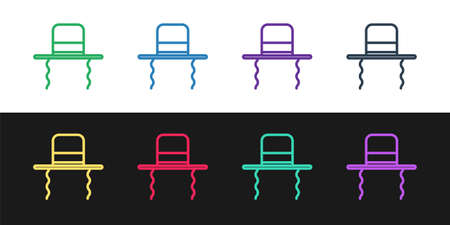 Set line Orthodox jewish hat with sidelocks icon isolated on black and white background. Jewish men in the traditional clothing. Judaism symbols. Vector Illustration