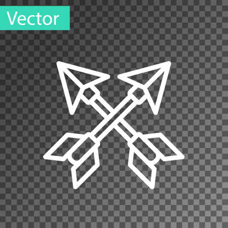 White line Crossed arrows icon isolated on transparent background. Vector Illustration