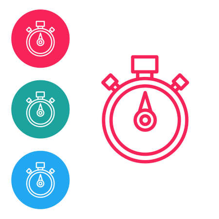 Red line Stopwatch icon isolated on white background. Time timer sign. Chronometer sign. Set icons in circle buttons. Vector
