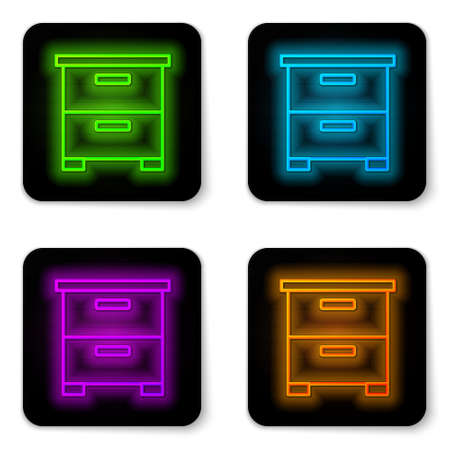 Glowing neon line Furniture nightstand icon isolated on white background. Black square button. Vector