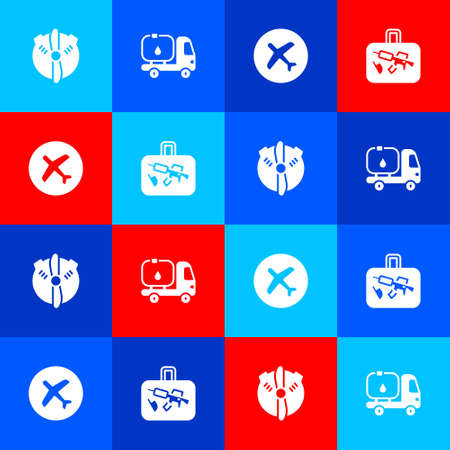 Set Plane propeller, Fuel tanker truck, and Suitcase icon. Vector Illustration