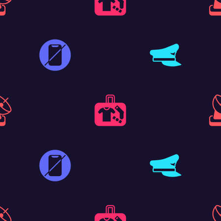 Set Pilot hat, No cell phone, Suitcase and Radar on seamless pattern. Vector