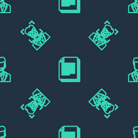 Set line Document, Face recognition and Man with headset on seamless pattern. Vector