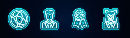 Set line Social network, User of man in business suit, Medal with star and Face recognition. Glowing neon icon. Vector