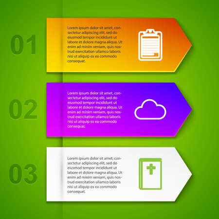 Set line Clipboard with document, Cloud, Holy bible book and Movie or Video camera. Business infographic template. Vector Illustration