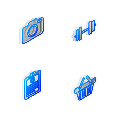 Set Isometric line Dumbbell, Photo camera, Clinical record and Shopping basket icon. Vector Illustration