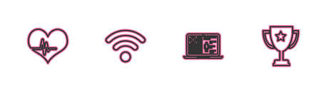 Set line Heart rate, Medical clinical record, WiFi wireless network and Trophy cup icon. Vector Illustration