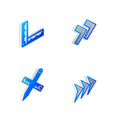 Set Isometric line Arrow, Folding ruler, Crossed and pencil icon. Vector