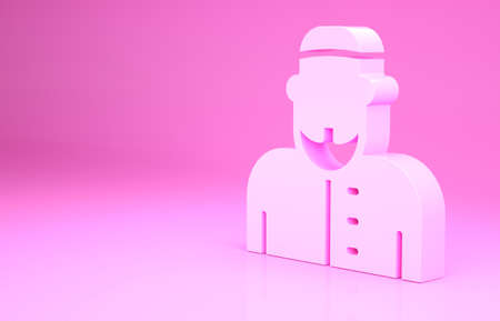 Pink Muslim man icon isolated on pink background. Minimalism concept. 3d illustration 3D render Archivio Fotografico