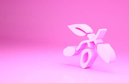 Pink Date fruit icon isolated on pink background. Minimalism concept. 3d illustration 3D render