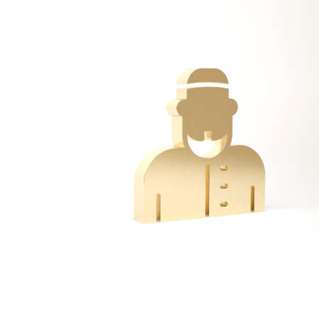 Gold Muslim man icon isolated on white background. 3d illustration 3D render