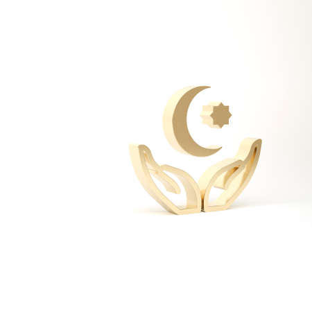 Gold Star and crescent - symbol of Islam icon isolated on white background. Religion symbol. 3d illustration 3D render Archivio Fotografico