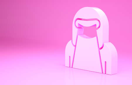 Pink Muslim woman in niqab icon isolated on pink background. Minimalism concept. 3d illustration 3D render