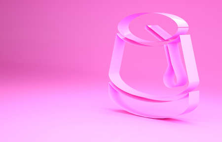 Pink Turkish hat icon isolated on pink background. Minimalism concept. 3d illustration 3D render Archivio Fotografico