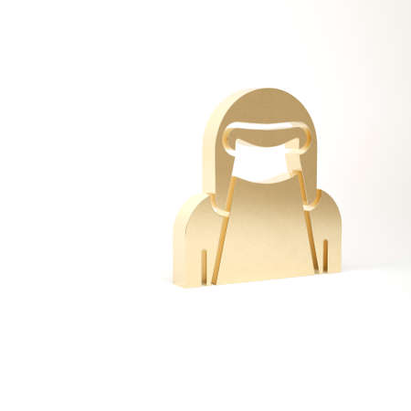 Gold Muslim woman in niqab icon isolated on white background. 3d illustration 3D render
