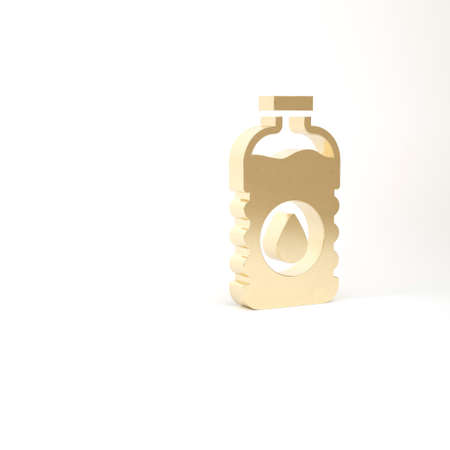Gold Bottle of water icon isolated on white background. Soda aqua drink sign. 3d illustration 3D render Archivio Fotografico