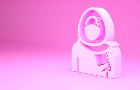 Pink Muslim woman in hijab icon isolated on pink background. Minimalism concept. 3d illustration 3D render Archivio Fotografico