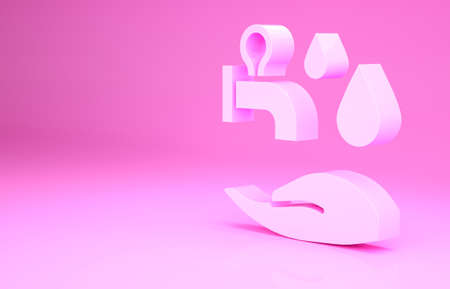 Pink Wudhu icon isolated on pink background. Muslim man doing ablution. Minimalism concept. 3d illustration 3D render