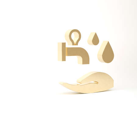 Gold Wudhu icon isolated on white background. Muslim man doing ablution. 3d illustration 3D render