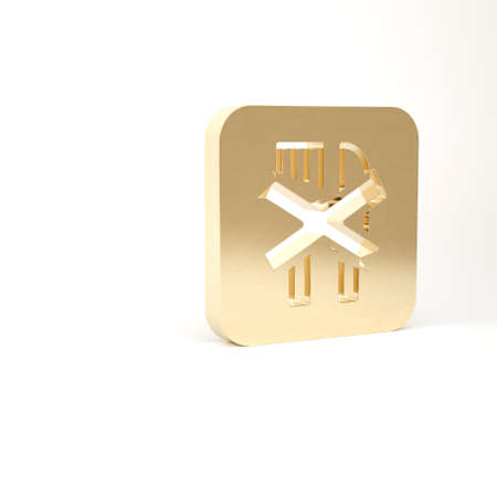 Gold Ramadan fasting icon isolated on white background. Religious fasting. 3d illustration 3D render