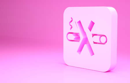 Pink No Smoking icon isolated on pink background. Cigarette symbol. Minimalism concept. 3d illustration 3D render