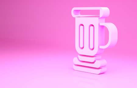 Pink Medieval goblet icon isolated on pink background. Minimalism concept. 3d illustration 3D render