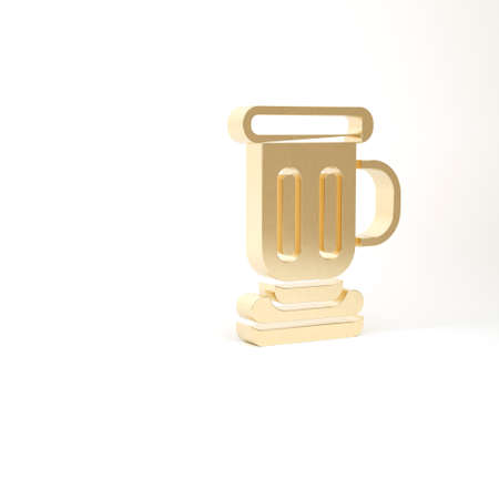 Gold Medieval goblet icon isolated on white background. 3d illustration 3D render Archivio Fotografico