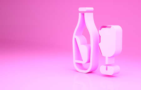 Pink Wine bottle with glass icon isolated on pink background. Minimalism concept. 3d illustration 3D render