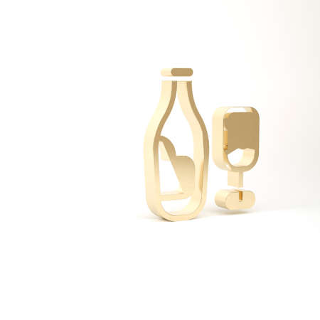 Gold Wine bottle with glass icon isolated on white background. 3d illustration 3D render