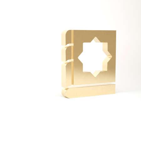 Gold Holy book of Koran icon isolated on white background. Muslim holiday, Eid Mubarak, Eid al-fitr, Ramadan Kareem. 3d illustration 3D render